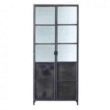 HSM Collection vitrinekast Bronx - grijs/wit - 90x36x200 cm - Leen Bakker