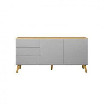 Tenzo dressoir Dot - grijs/eiken - 79x162x43 cm - Leen Bakker