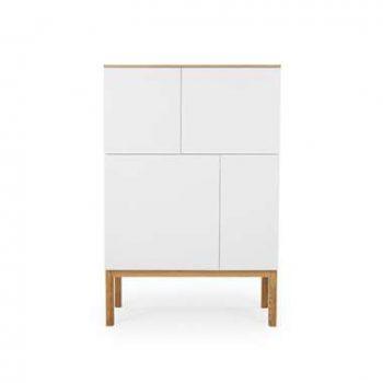 Tenzo wandkast Patch - eikenkleur/wit/eikenkleur - 138x92x40 cm - Leen Bakker