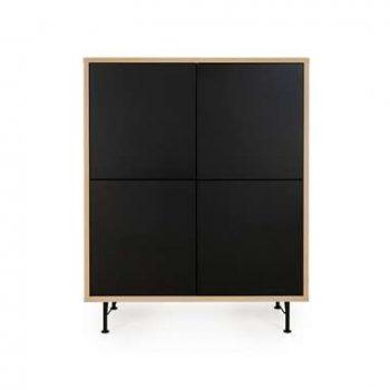 Tenzo wandkast Flow - eikenkleur/zwart - 137x111x44 cm - Leen Bakker
