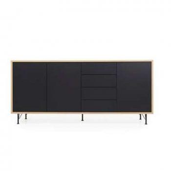 Tenzo dressoir Flow 3 deuren en 4 lades - eikenkleur/zwart - 98x217x54 cm - Leen Bakker