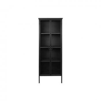 Vitrinekast Manhattan - zwart - 180x63x38 cm - Leen Bakker