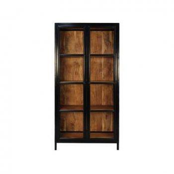 Vitrinekast Kingston - naturel/zwart - 185x90x40 cm - Leen Bakker