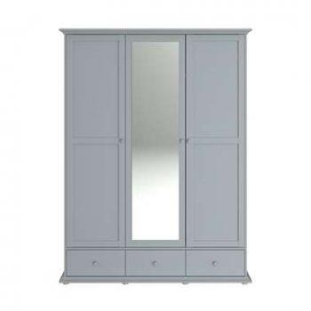 Parisot kledingkast Margaux - grijs - 202x152x53 cm - Leen Bakker