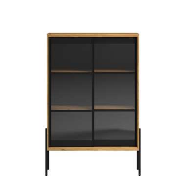 Parisot vitrinekast Junto - eiken/zwart - 152x103x40 cm - Leen Bakker
