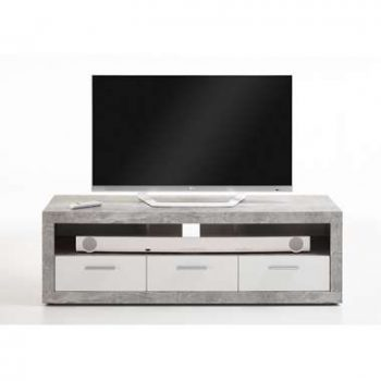 Tv-meubel Leiston - betonkleur/wit - 49x152x45