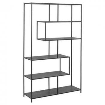 Boekenkast Jaxx - zwart - 185x114x35 cm - Leen Bakker