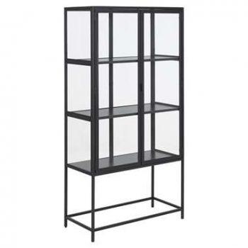 Vitrine Adino - metaal - zwart - 150x77x35 cm - Leen Bakker