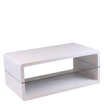 Deze salontafel is vervaardigd uit wit hoogglans gelakt MDF. Het 8mm dikke