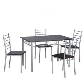 De tafel en stoelen hebben een zilverkleurig metalen frame en het tafelblad en zitting van de stoel zijn in een moderne donker wengekleurige uitvoering. De tafel is 120x75x76cm h. De stoelen zijn 40x45