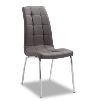 Trendy look voor een betaalbare prijs. Deze kuipvormige stoel heeft een verchroomd rond metalen frame en een zitting en rug die is afgewerkt in een luxe en sterke grijze leatherlook