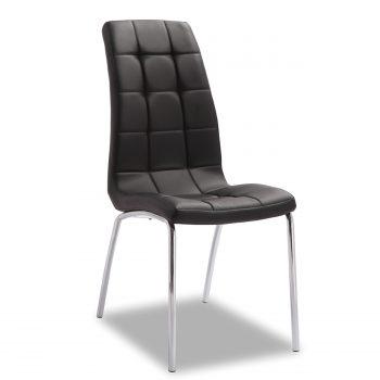 Trendy look voor een betaalbare prijs. Deze kuipvormige stoel heeft een verchroomd rond metalen frame en een zitting en rug die is afgewerkt in een luxe en sterke zwarte leatherlook
