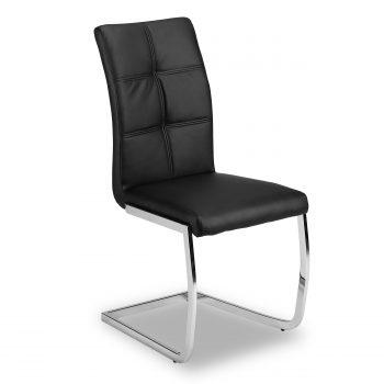 Super moderne look voor een betaalbare prijs. Deze stoel heeft een verchroomd metalen frame en een zitting en rug die is afgewerkt in een luxe en sterke zwarte leatherlook
