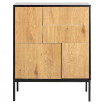 Dressoir Avola - zwart/eiken - 103x80x40 cm - Leen Bakker
